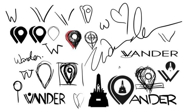 Wander Logo Sketches